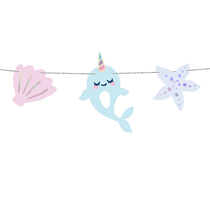 Narwhal Seashell Garland On Silver Twine 1M