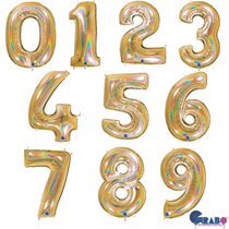 """Gold Holographic Glitter 40"""" Foil Number Balloons"""