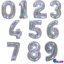 """Silver Holographic Glitter 40"""" Foil Number Balloons"""
