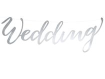 Wedding Silver Script Banner 45cm