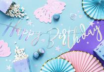 Happy Birthday Iridescent Script Banner 0.6M