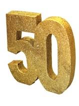 Gold Glitter 50th Birthday Table Decoration