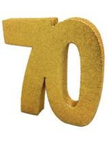 Gold Glitter 70th Birthday Table Decoration