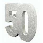 Silver Glitter 50th Table Decoration
