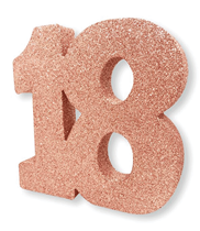 Rose Gold Glitter 18th Table Decoration