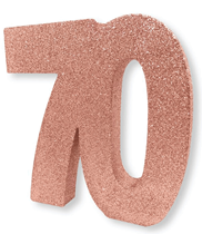 Rose Gold Glitter 70th Table Decoration