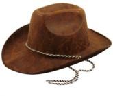 Faux Leather Cowboy Hat Dark Brown