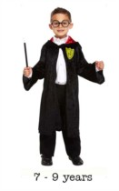 Children's Wizard Costume 7 - 9 yrs With Glasses & Wand