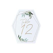 Gold Geometric Greenery Design Table Numbers 12pk