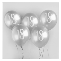 "Age 18 Silver 12"" Latex Balloons 5pk"