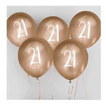 "Age 21 Gold 12"" Latex Balloons 5pk"