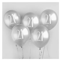 "Age 21 Silver 12"" Latex Balloons 5pk"