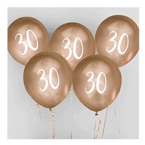 "Age 30 Gold 12"" Latex Balloons 5pk"
