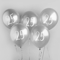 "Age 25 Silver 12"" Latex Balloons 5pk"