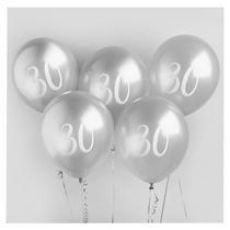 "Age 30 Silver 12"" Latex Balloons 5pk"