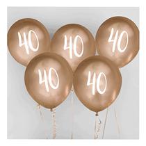 "Age 40 Gold 12"" Latex Balloons 5pk"