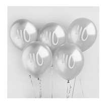 "Age 40 Silver 12"" Latex Balloons 5pk"