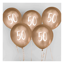 "Age 50 Gold 12"" Chrome Finish Latex Balloons 5pk"
