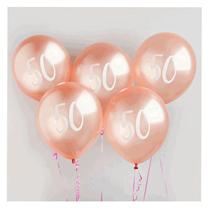 "Age 50 Rose Gold 12"" Latex Balloons 5pk"