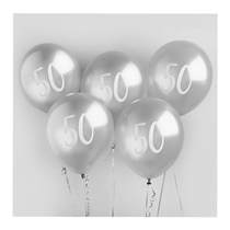 "Age 50 Silver 12"" Latex Balloons 5pk"