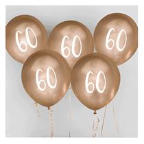 "Age 60 Gold 12"" Latex Balloons 5pk"