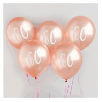 "Age 60 Rose Gold 12"" Latex Balloons 5pk"