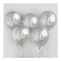 "Age 60 Silver 12"" Latex Balloons 5pk"