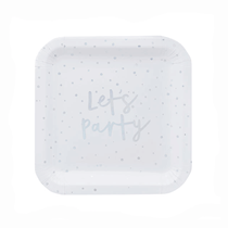 """Iridescent Foil Stamped Let's Party 9"""" Square Paper Plates 10pk"""