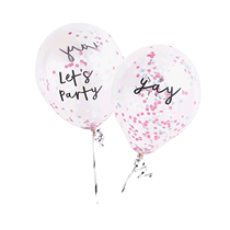 """Let's Party & Yay Pastel Confetti Filled 12"""" Latex Balloons 5pk"""