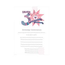 30th Birthday Party Invitation Sheets and Envelopes - 20pk