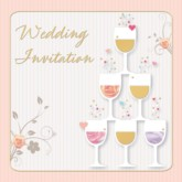 Wedding Invitations with Envelopes 6pk - Wine Glasses