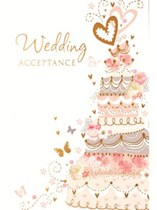 Pink Wedding Cake Wedding Acceptance Cards & Envelopes 24pk
