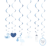 Oh Baby Blue Swirl Assorted Decorations 6pk