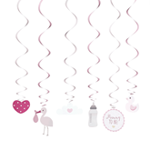 Oh Baby Pink Swirl Assorted Decorations 6pk