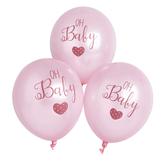 """Oh Baby Pink Printed 11"""" Latex Balloons 6pk"""