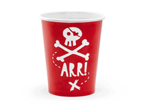 Pirate Party Red 220ml Paper Cups 6pk