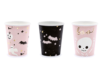 Halloween Pink & Black Paper Cups 6pk