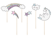 Unicorn Rainbow Cake Topper Set 5pce
