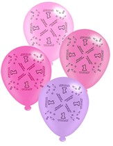 """Pink Age 1 Assorted 10"""" Latex Balloons 8pk"""