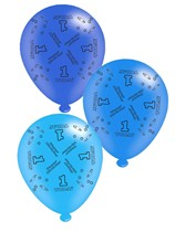 """Blue Age 1 Assorted 10"""" Latex Balloons 8pk"""