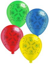 """Age 6 Assorted 10"""" Latex Balloons 8pk"""