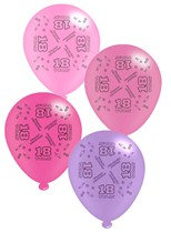 """Pink Age 18 Assorted 10"""" Latex Balloons 8pk"""