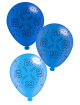"""Blue Age 18 Assorted 10"""" Latex Balloons 8pk"""