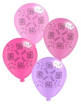 """Pink Age 21 Assorted 10"""" Latex Balloons 8pk"""