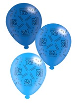 """Blue Age 21 Assorted 10"""" Latex Balloons 8pk"""