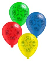 """Age 30 Assorted 10"""" Latex Balloons 8pk"""