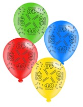 """Age 40 Assorted 10"""" Latex Balloons 8pk"""