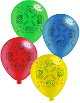 """Age 50 Assorted 10"""" Latex Balloons 8pk"""