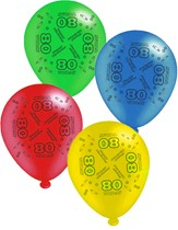 """Age 80 Assorted 10"""" Latex Balloons 8pk"""