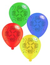 """Age 90 Assorted 10"""" Latex Balloons 8pk"""